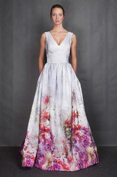 Gorgeous hand-painted gown by @heidi elnora  for her #Spring14 collection. http://weddingrowcharlotte.com/bridal-market-top-looks-for-spring-2014/