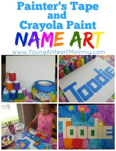 Kid's Craft: Painter's Tape  Crayola Paint Name Art http://www.youngatheartmommy.com/2014/03/kids-craft-painters-tape-crayola-paint.html