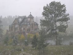 Estes Park, CO : St. Malo Chapel in the early fall snow