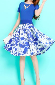 Preoders Blue top short sleeves Spring floral Jersey Dress (XS-2XL) (Y47Blue)