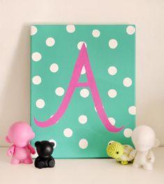 DIY Gifting: Custom Painted Initial Canvas for Baby DIY Wall Art DIY Crafts DIY Home