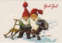 Norwegian nisse. Looks like it's an old Christmas card.