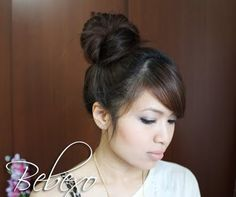 High Hair Bun Updo   There is an every day version on that one n youtube