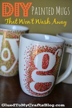 DIY Painted Mugs - That Won't Wash Away {Craft}. These are really cute... Maybe we could start combing clearance bins and garage sales for enough mugs?