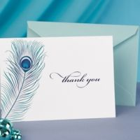 Peacock Feather Thank You Note Cards
