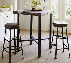 Griffin Reclaimed Wood Bar-Height Table #potterybarn | The right height but need larger tabletop