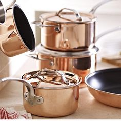 Copper Tri-Ply Pans in pots and pans at the home of creative kitchenware, Lakeland Best Cooking Oil, Easy Cooking, Cooking Recipes, Kitchen Pans, Copper Kitchen, Kitchen Utensils, Cooking Games, Cooking Tools, Quinoa