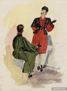 Mourgue 1945 Bruyère & Paquin Jeanne Paquin, Close Image, Illustration, The Originals, Gauche, Painting, Vintage, Art, Stone