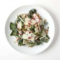 This Freekeh Salad with Chicken and Kale, radish, kohlrabi from Gruner in Portland, Oregon is substantial enough for a weeknight dinner. Chicken And Kale Recipes, Kale Salad Recipes, Healthy Recipes, Kale Salads, Healthy Salads, Turkey Recipes, Healthy Foods, Slow Cooked Salmon, Turkey Spinach Meatballs