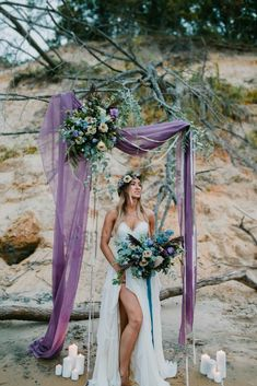 Floral arch for beach ceremony decor - A Romantic Lake Michigan Elopement | WeddingDay Magazine
