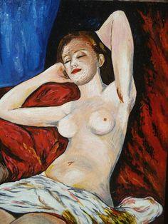 La dormeuse - A. Renoir - 1897 - Reproduction à l'acrylique sur panneau en bois, vernie, vendue sans cadre. Travail artisanal soigné par copiste. Velours adhésif au verso du tableau. Dimensions : 28,5 x 39 cm. Épaisseur : 5 mm. A vendre. 60 €.
