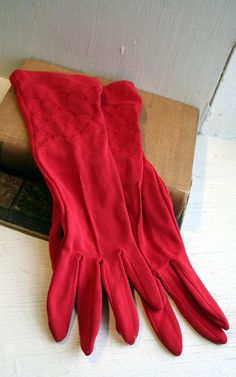 Vintage Red Embroidered Short Ladies Gloves by Decadence2artbar, $14.00