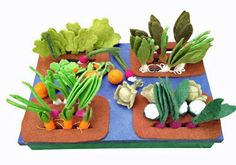 Encourage a love of gardening and veggies with this beautiful Grow a Veggie Garden felt play set.
