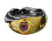 Black rhodium and gold plated sterling silver tourmailne band ring - statement ring made in Greece