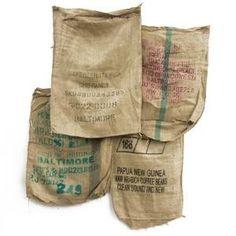 burlap coffee bean sacks