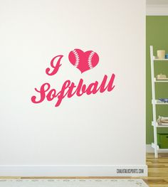 Add some softball to your room with this I Love Softball removable wall decal!