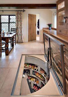 Furniture, Astonishing Original Wine Cellar With Rectangular Glass Trap Door ~ Amazing Trap Door Wine Cellar Design Ideas Cellar Design, Interior Design Living Room, Interior Modern, My Dream Home, Kitchen Decor, Kitchen Ideas, Rustic Kitchen, Kitchen Walls, Cozy Kitchen