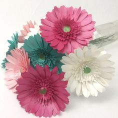 Gerbera Daisy - Sunflower Summer Co - Paper Flower Backdrop Wedding Rolled Paper Flowers, Easy Paper Flowers, Paper Butterflies, Paper Flower Tutorial, Small Flowers, Craft Flowers, Potted Flowers, Origami Flowers, Flower Crafts