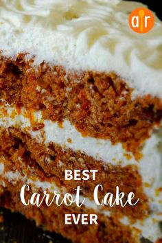 Best Carrot Cake Ever A moist and flavorful recipe that makes a large quantity of cake. I have been hounded to make this cake time and time again. - Best Carrot Cake Ever Best Carrot Cake Ever Recipe, Homemade Carrot Cake, Moist Carrot Cakes, Homemade Cake Recipes, Carrot Recipes, Baking Recipes, Carrot Cake Recipe Allrecipes, Moist Cakes, Carrot Cake With Coconut Recipe