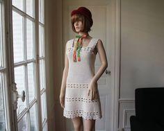 Crochet mini dress vintage 70s ecru off white crochet dress flowers openwork hippie boho natural summer dress large straps - Size XS / S