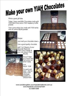 Homemade Chocolates using your Favourite YIAH Chocolate Powders Gourmet Recipes, Cooking Recipes, Cooking Stuff, Easy Recipes, Chocolate Powder, Party Food And Drinks, Melting Chocolate, Recipe Using, Sweet Tooth