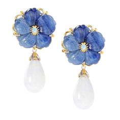 Michael Valitutti Carved Flower Earrings with Kyanite/ White Coral and Swiss Blu #MichaelValitutti