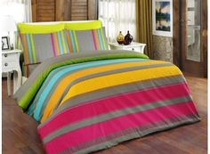 Dose Of Modern Elle Ranforce Single Quilt Cover Set (FR) - Pink Orange Turquoise Beige Cotton Bedding, Linen Bedding, Bed Linen, Double Quilt, Nova, Single Quilt, French Bed, Orange And Turquoise, Quilt Cover Sets