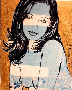 "DAVID BROMLEY Nude ""Gillian"" Polymer & Gold Leaf on Canvas 90cm x 60cm"