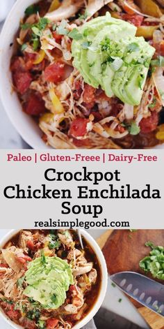 Since the weather turned chilly, this crockpot chicken enchilada soup is one that we've had on repeat! It's so tasty and warming. Paleo, Gluten-Free + Dairy-Free. | realsimplegood.com