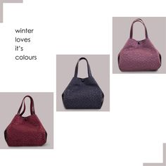 Winter loves it´s colors! Winter Love, Winter Essentials, Colours, Bags, Handbags, Winter Must Haves, Totes, Hand Bags, Purses
