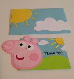 Handmade Peppa Pig Thank you cards by Craftophologie on Etsy https://www.etsy.com/listing/232312460/handmade-peppa-pig-thank-you-cards