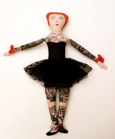 Tattooed lady in a black tutu by mck254