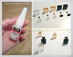 how to: Cynthia Howe perfume bottles. Make from different sized beads and misc jewelry findings. Modern Dollhouse Furniture, Barbie Furniture, Miniature Furniture, Dollhouse Miniature Tutorials, Miniature Crafts, Miniature Dolls, Diy Dollhouse Miniatures, Homemade Dollhouse, Halloween Perfume