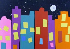 City at Night: Preschool and kindergarten activity.  FA.1.3 Reflect on differences and preferences as he/ she encounters artwork.  FA.1.4 Compare and contrast own creations and those of others .