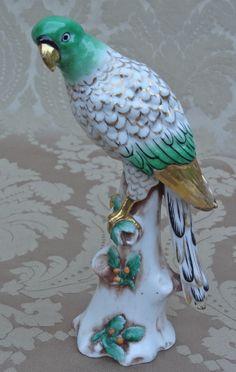 Antique Vintage Art Deco German Porcelain Parrot Love Bird Figurine