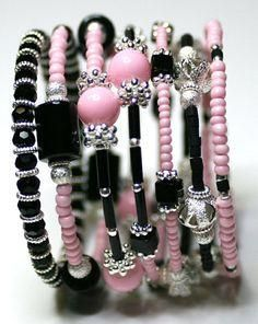 Black and pink memory wire bracelet