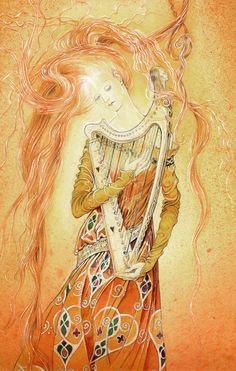 An article about enchanted harps in fairy tales by Terri Windling, art detail from ''Dreamharp''by Marja Lee