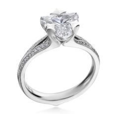 MaeVon-18K White Gold Clover Pave Engagement Ring Heart Engagement Rings, White Gold, Jewelry, Jewlery, Heart Shaped Promise Rings, Jewerly, Schmuck, Jewels, Jewelery