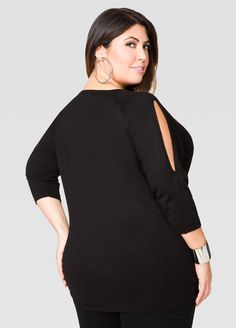 Trick Or Treat Me Cold Shoulder Top - Ashley Stewart