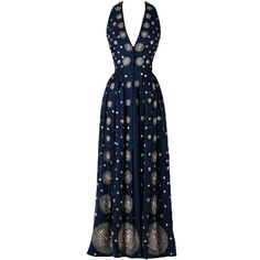 Vintage 1970's Surjit & Adarsh Gill Silk Beaded Halter Dress | From a collection of rare vintage evening dresses at http://www.1stdibs.com/fashion/clothing/evening-dresses/