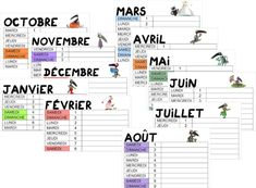 Calendrier 2019/ 2020 - Le Loup - Validées Lund, Ms Gs, Bullet Journal, Education, Cycling Art, School, Calendar 2018, Learn English, November Calendar