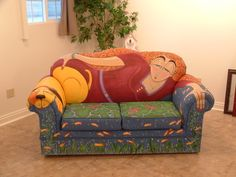 Painted vintage sofa By artist Pat Janssen-Hall...would love to do something like this