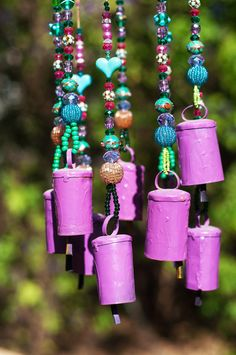 Bell Hanging Mobile-purple and turquoise home decor-mobile Bells -Wind Chime- Ceiling Decoratio-garden decoration-garden windchime- by RONITPETERART on Etsy Turquoise Home Decor, Turquoise And Purple, Turquoise Glass, Wind Chimes Sound, Diy Wind Chimes, Carillons Diy, Wooden Stars, Hanging Mobile, Beaded Curtains