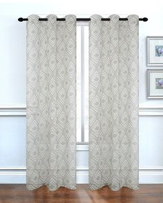 Dainty Home Diamonte Printed Sheer Grommet Window Panel Pair, 76 x 84'', Silver *** Visit the image link more details. (This is an affiliate link) #WindowTreatments