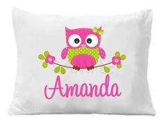 Owl Personalized Pillow Case Owl Pillow Case
