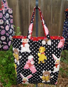 Petits Amis Reversible Tote Bag Kokka Fabric Japanese by WindPoppy, $55.00