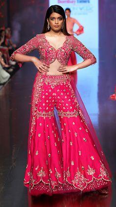 The 'Gulabi Noor' Trail ShararaAccommodating a broad selection of modern Indian Bridal Lehenga, Red Lehenga, Lehenga Choli, Anarkali, Blue Saree, Pakistani Bridal, Pakistani Dresses, Indian Dresses, Indian Outfits