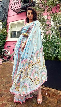 Soft powder blue half and half pre-stitched Saree worn under and through an embellished shoulder harness tunic and waist belt. Salwar Designs, Kurti Designs Party Wear, Pakistani Dresses Casual, Casual Dresses, Fashion Dresses, Dress Indian Style, Indian Dresses, Designer Kurtis, Indian Wedding Outfits