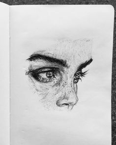 eyes and nose face pencil drawing