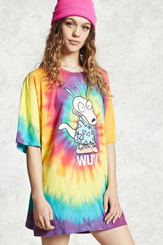 "A knit tee featuring a tie-dye wash with a Rocko's Modern Life ""Wut!"" front graphic, a round neck with short sleeves and longline silhouette."